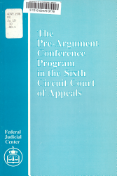 The Pre argument Conference Program in the Sixth Circuit Court of Appeals PDF
