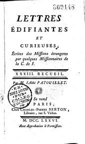 Lettres édifiantes et curieuses écrites des missions étrangères par quelques missionnaires de la Compagnie de Jésus...