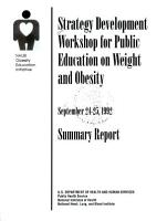 Strategy Development Workshop for Public Education on Weight an Obesity  September 24 25  1992 PDF