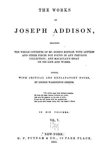 The Works of Joseph Addison  The Spectator PDF