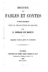 Recueil de fables et contes en Patois Saintongeais avec la traduction en regard par Henri Burgaud des Marets