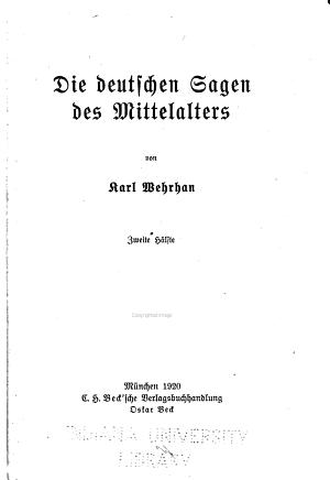 Deutsches sagenbuch      Die deutschen sagen des mittelalters