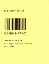 California. Court of Appeal (4th Appellate District). Division 2. Records and Briefs: E011477, Appellant's Opening