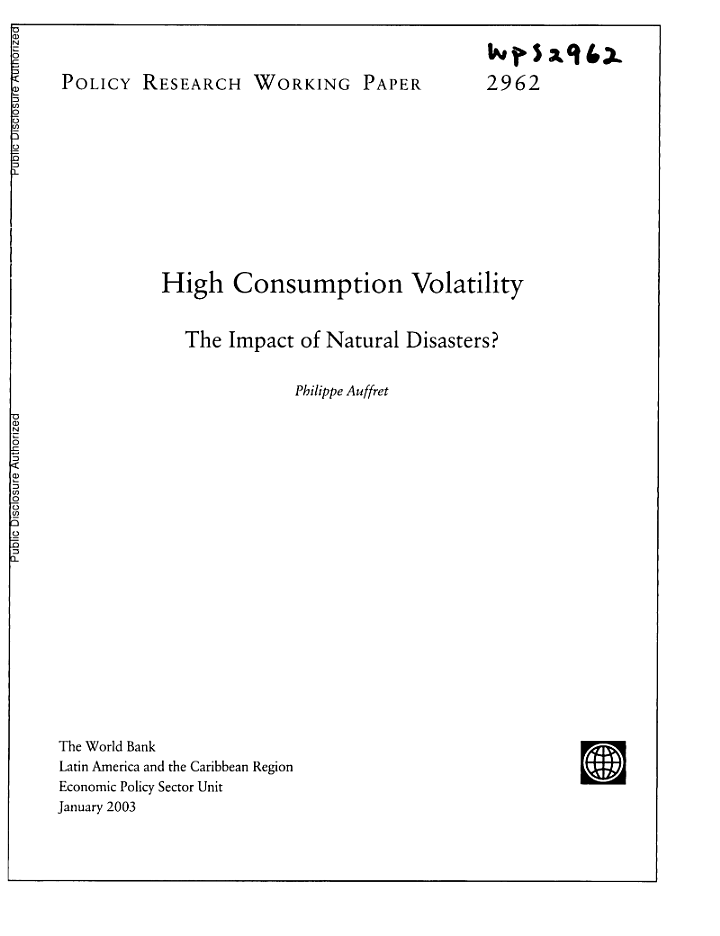 High consumption Volatility