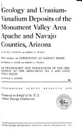 Geology and Uranium vanadium Deposits of the Monument Valley Area  Apache and Navajo Counties  Arizona PDF