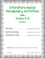 Literature Based Vocabulary Activities for Grades 4 8 Fiction PDF