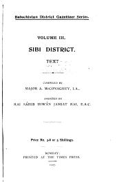 Baluchistan District Gazetteer Series: Sibi