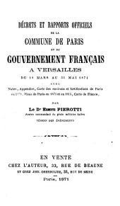 Décrets et rapports officiels de la Commune de Paris et du gouvernement français du 18 mars au 31 mars 1871