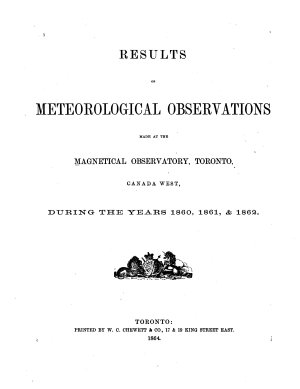 Results of Meteorological Observations Made at the Magnetical Observatory  Toronto  Canada West PDF