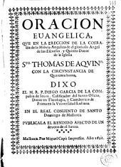 Oración evangelica que en la erección de la cofradía de la Milicia Angélica de Sto. Tomás de Aquino