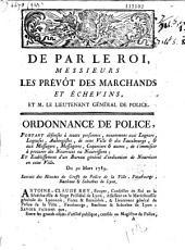 De par le Roi, messieurs les Prévôt des marchands et Echevins,...Ordonnance de police, portant defenses à toutes personnes, notamment aux logeurs, logeuses, aubergistes, de cette ville et des faubourgs et aux messagers, messageres, coquetiers et autres, de s'immiscer à procurer des nourrices ou nourrissons, et etablissement d'un bureau général d'indication de nourrices en cette Ville. Du 30 mars 1789