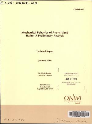 Mechanical Behavior of Avery Island Halite  a Preliminary Analysis