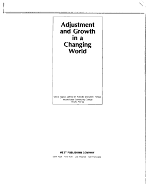 Adjustment and Growth in a Changing World