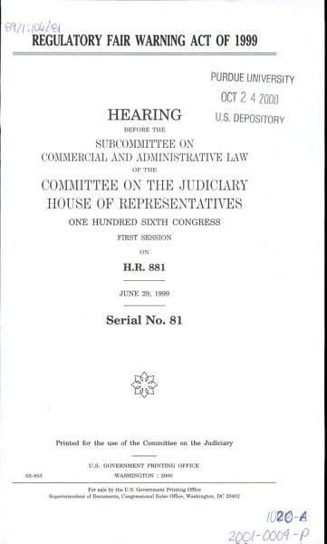 Download Regulatory Fair Warning Act of 1999 Book