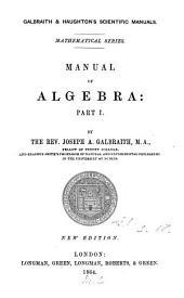 Manual of Algebra