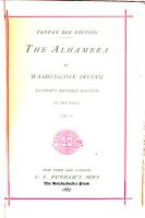 Tappan Zee Edition of Irving s Works  The Alhambra PDF