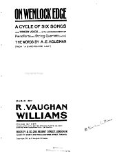 On Wenlock Edge: A Cycle of Six Songs : for Tenor Voice, with Accompaniment of Pianoforte and String Quartett (ad Lib)