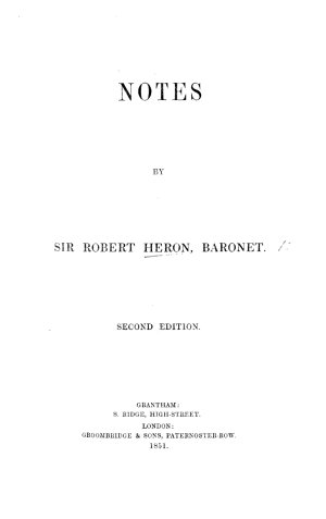 Notes by Sir R  H  Second edition