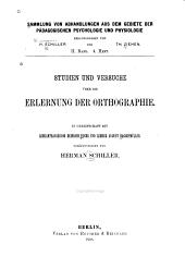 Studien und Versuche über die Erlernung der Orthographie