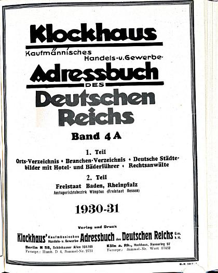 Klockhaus  kaufm  nnisches Handels  und Gewerbe Adressbuch des Deutschen Reichs PDF