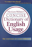 Merriam Webster S Concise Dictionary Of English Usage Book PDF