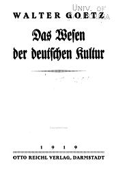Das Wesen der deutschen Kultur