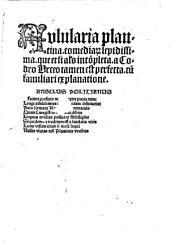 Aulularia plautina. comediarum lepidissima