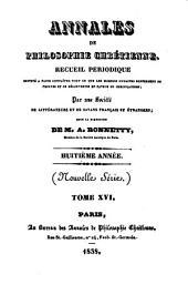 Annales de philosophie chrétienne: Volumes16à17
