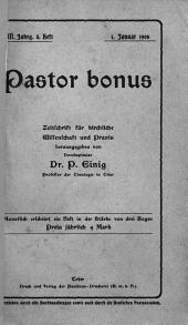 Pastor bonus: Monatsschrift für kirchliche Wissenschaft und Praxis
