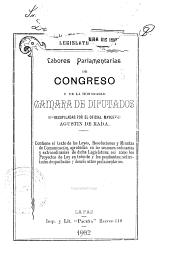 Labores parlamentarias de Congreso y de la honorable Cámara de Diputados