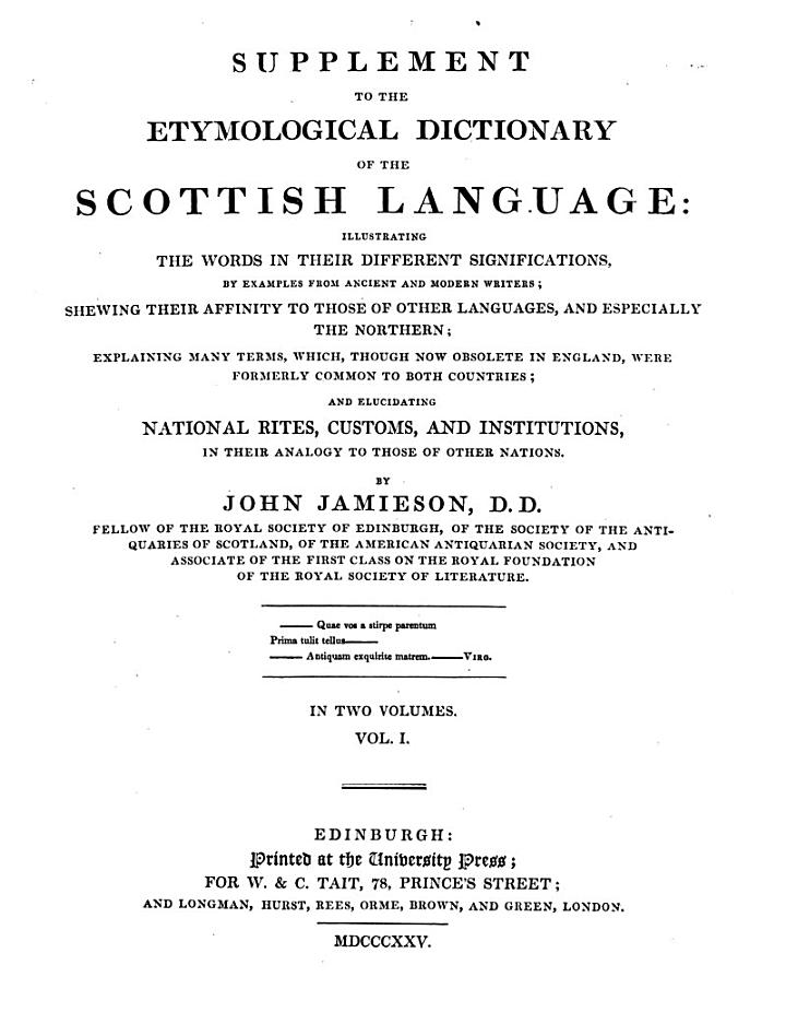 A Etymological Dictionary of the Scottish Language ...