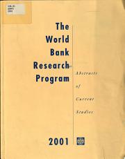 The World Bank Research Program 2001 PDF
