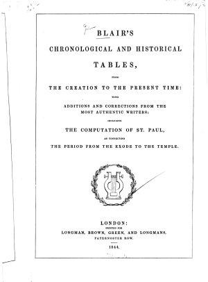 Blair's Chronological and Historical Tables
