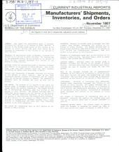 Current Industrial Reports: Manufacturers' shipments, inventories, and orders