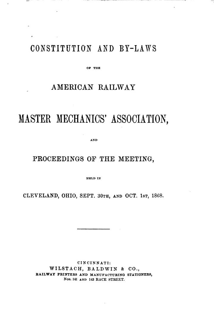 Annual Report of the American Railway Master Mechanics' Association