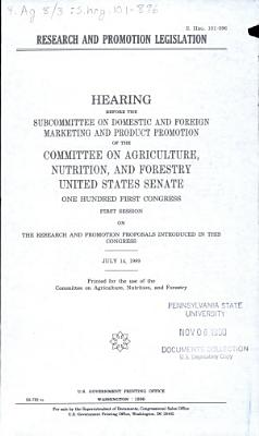 Research and Promotion Legislation