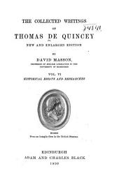 The Collected Writings of Thomas De Quincey: Volume 6