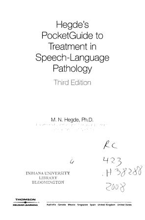 Hegde s PocketGuide to Treatment in Speech language Pathology PDF
