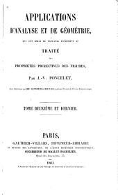 Applications d'analyse et de géométrie: qui ont servi de principal fondement au Traité des propriétés projectives des figures, Partie2