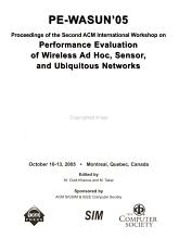 Proceedings of the     ACM International Workshop on Performance Evaluation of Wireless Ad Hoc  Sensor  and Ubiquitous Networks PDF