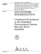 DOD systems modernization continued investment in the standard procurement system has not been justified.