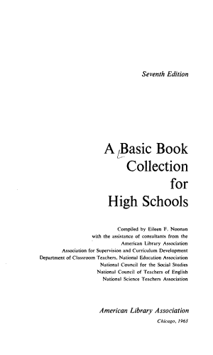 A Basic Book Collection for High Schools