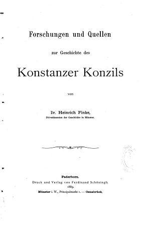 Forschungen und Quellen zur Geschichte des Konstanzer Konzils PDF