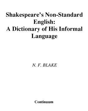 Shakespeare s Non Standard English