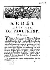 Arrêt... Du 6 août 1761. [Défenses au peuple français de fréquenter les Jésuites et de lire leurs ouvrages]
