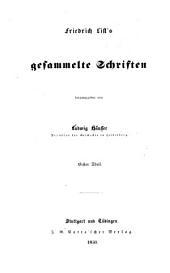 Friedrich List's gesammelte Schriften: Band 1