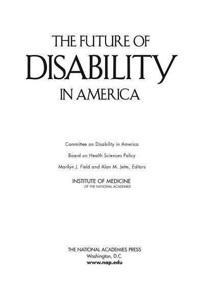 Download The Future of Disability in America Book
