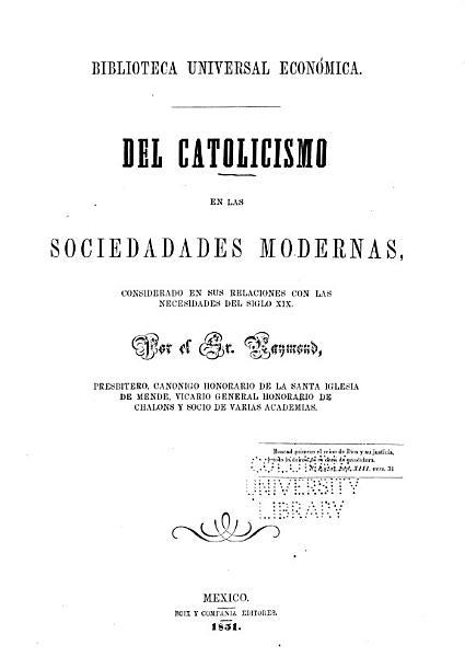 Del Catolicismo En Las Sociedadades Sic Modernas