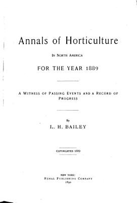 Annals of Horticulture in North America