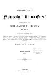 Oesterreichische monatsschrift fur den orient